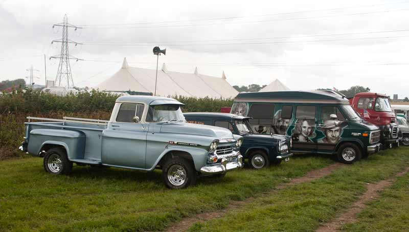 American pick up and Ford Anglia van