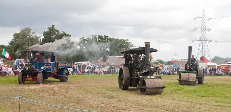 Steam lorry and rollers