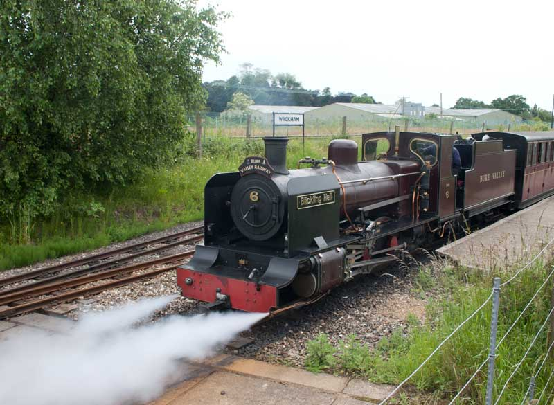 Bure Valley Railway No. 6 leaving Wroxham
