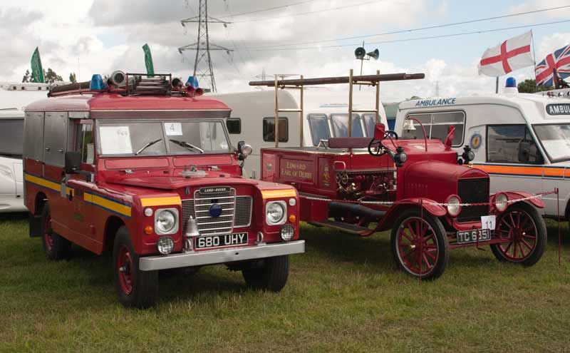 1963 Land Rover Series II fire engine and 1923 Ford Model T fire engines