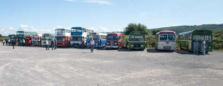 Line up of buses
