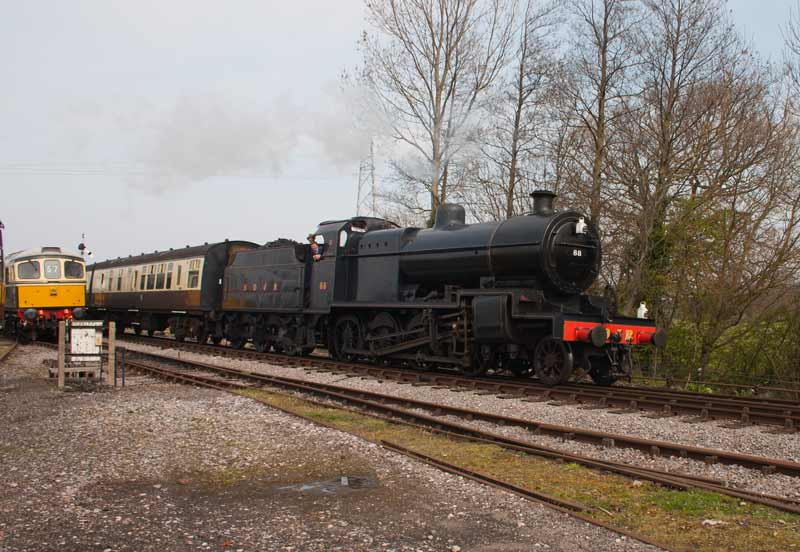SDJR 2-8-0 88 arriving at Wlliton, West Somerset Railway.